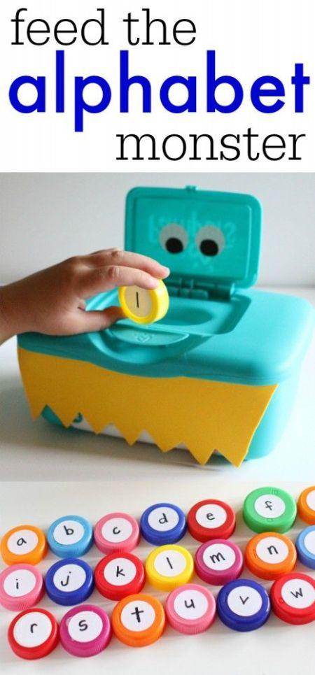 kids feed the alphabet monster